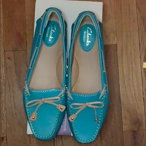 Clarks Flat Shoes Turquoise